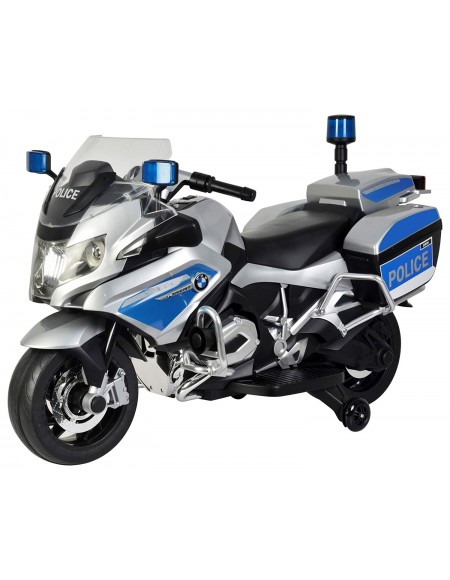 BMW R 1200 RT Police Motorcycle Rechargeable Battery Operated Ride-on Bike for Kids ( 2 to 7), Officially Licensed Silver