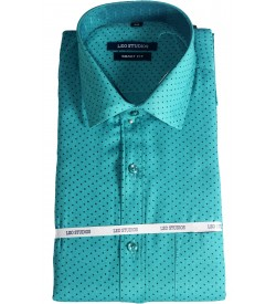 Leo Studios Cotton Smart Fit Full Sleeve Shirts For Mens (Half White,Peacock Green) Buy 1 Get 1 Free