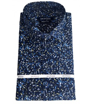 Leo Studios Cotton Smart Fit Full Sleeve Shirts For Mens (Navy Blue,Light Green) Buy 1 Get 1 Free