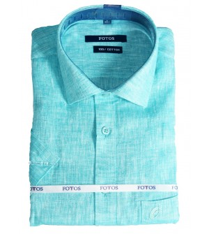 Fotos 60s Pure Linen Cotton Smart Fit Half Sleeve Shirts For Mens (Green)