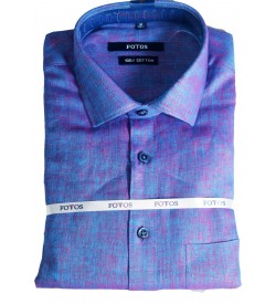 Fotos 60s Pure Linen Cotton Smart Fit Full Sleeve Shirts For Mens (Violet)
