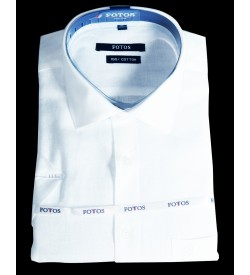 Fotos 60s Pure Linen Cotton Smart Fit Shirts For Mens (White)