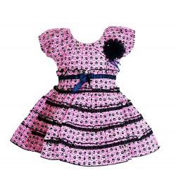 RD Rafique Pink Blue Flower Print  Kids Girls Cotton Dress - 0039