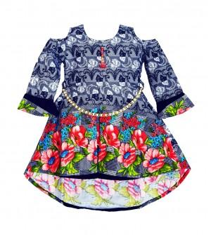 RD Rafique Blue Light Rose Flower Print Kids Girls Cotton Dress - 0043