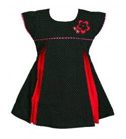 RD Rafique Navy Blue White Dot Print  Kids Girls Cotton Dress - 0045