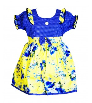 RD Rafique Peacockblue Flower Print Kids Girls Cotton Dress - 0047