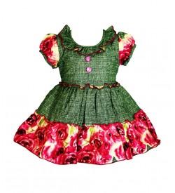 RD Rafique Pink Flower Print Kids Girls Cotton Dress - 0050
