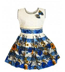 RD Rafique Multi Colour Flower Print  Kids Girls White Cotton Dress - 0052