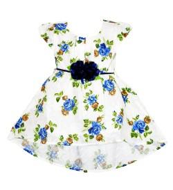 RD Rafique White Royal Flower Print Kids Girls Cotton Dress - 0054