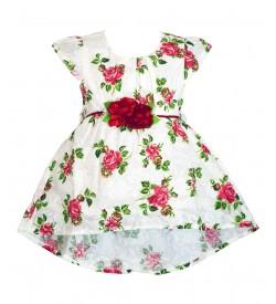 RD Rafique White Red Flower Print Kids Girls Cotton Dress - 0058