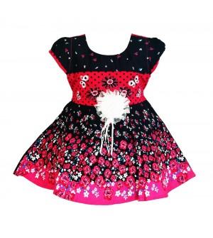 RD Rafique Pink With Blue Flower Print Kids Girls Cotton Dress - 0062