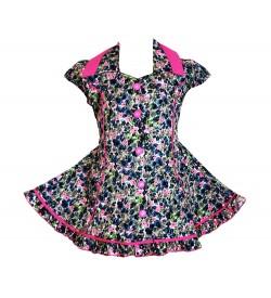 RD Rafique Pink Flower Print  Kids Girls Cotton Dress - 0064