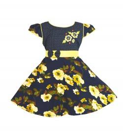 RD Rafique Blue Flower Print  Kids Girls Cotton Dress - 0066