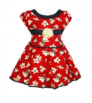RD Rafique Red Flower Print Kids Girls Cotton Dress - 0068