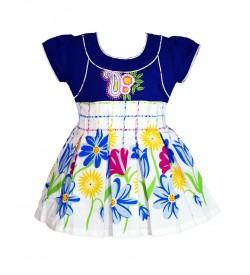 RD Rafique Blue White Flower Print Kids Girls Cotton Dress - 0072