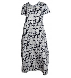 Indus Kamaron 1/2 Sleeve Blue,White Printed Nighty For Women's - 0125