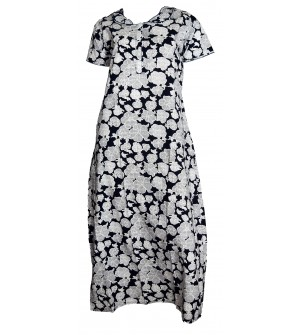 Indus Kamaron 1/2 Sleeve Blue,White Printed Nighty For Women's - 0125