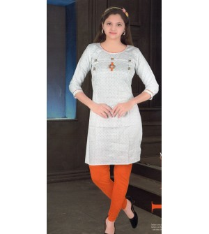 Kaylee Girls White Printed Cotton Cotton Kurti - 8331