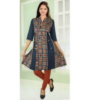 Kaylee Girls Multi Design Printed Rayon Kurti - 8343