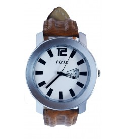 Fizix Fastrack Look Tan Strap Analog Day & Date Watch For Men's-2080