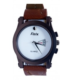 Fizix One Stone Brown Strap Analog Day & Date Watch For Men's-2086