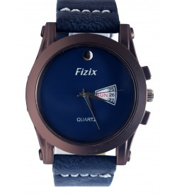 Fizix One Stone Plain Dial Blue Strap Analog Day & Date Watch For Men's-2089