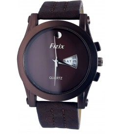 Fizix One Stone Plain Dial D.Brown Strap Analog Day & Date Watch For Men's-2092