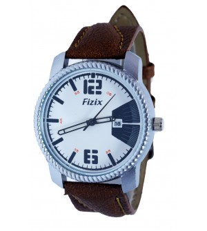 Fizix Fastrack Look Brown Strap Analog Day & Date Watch For Men's-2096
