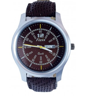 Fizix Fastrack Look D.Brown Strap Analog Day & Date Watch For Men's-2099