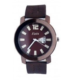 Fizix Fastrack Look Brown Strap Analog Day & Date Watch For Men's-2101