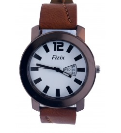 Fizix Fastrack Look Brown Strap Analog Day & Date Watch For Men's-2108