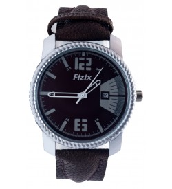 Fizix Fastrack Look D.Brown Strap Analog Date Watch For Men's-2111