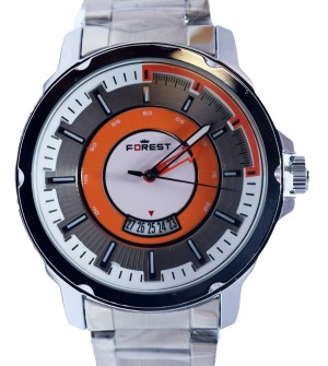 Forest Silver Stainless Steel Watch For Men's With Date - 2131