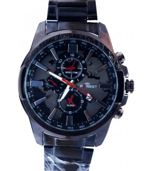 Forest Black Silver Stainless Steel Watch For Men's With Date - 2140