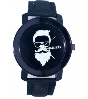 Fizix New Beard Model Black Dial Quartz Leather Watch For Men's