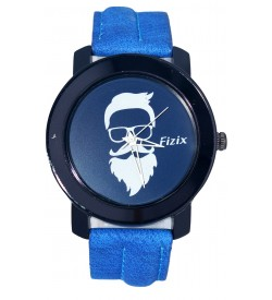 Fizix New Beard Model Blue Dial Quartz Leather Watch For Men's