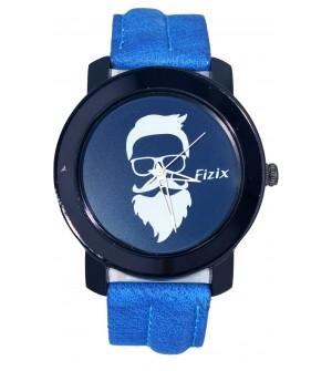 Fizix New Beard Model Blue Dial Quartz Leather Watch For Men's
