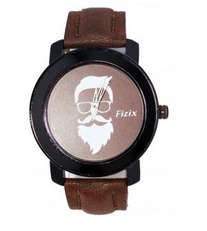 Fizix New Beard Model D.Brown Dial Quartz Leather Watch For Men's