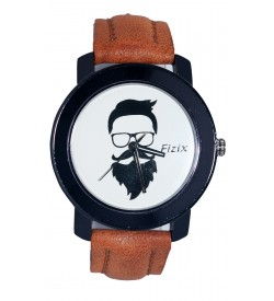 Fizix New Beard Model White Dial Quartz L.Brown Leather Watch For Men's