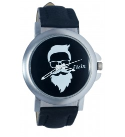 Fizix New Beard Model Black Dial Quartz Black Leather Watch For Men's