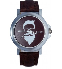 Fizix New Beard Model D.Brown Dial Quartz Leather Watch For Men's