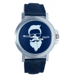 Fizix New Beard Model Blue Dial Quartz Blue Leather Watch For Men's