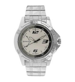 Sonata White Dial Analog Watch for Men - NJ77001SM02AC