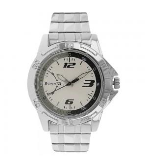 Sonata White Dial Analog Watch for Men - NJ77001SM02AC