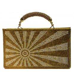 Sun Stone Gold Stone Handle Purse Stylish Handbag For Women's - 1170