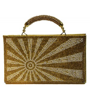 Sun Stone Gold Stone Handle Purse Stylish Handbag For Women's - 1170