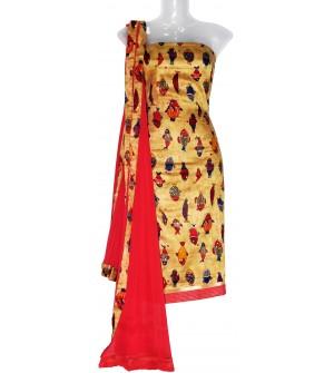 Satin Print Dress Material (Un-stitched) With Print Dupatta - DM1259