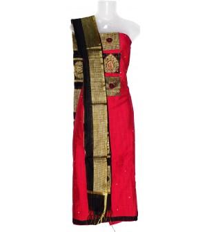 Patch Leaf Design Cotton Dress Material (Un-stitched) With Dupatta - DM1283