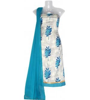 Satin Print Dress Material (Un-stitched) With Print Dupatta - DM1288