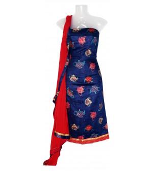 Satin Print Dress Material (Un-stitched) With Print Dupatta - DM1293
